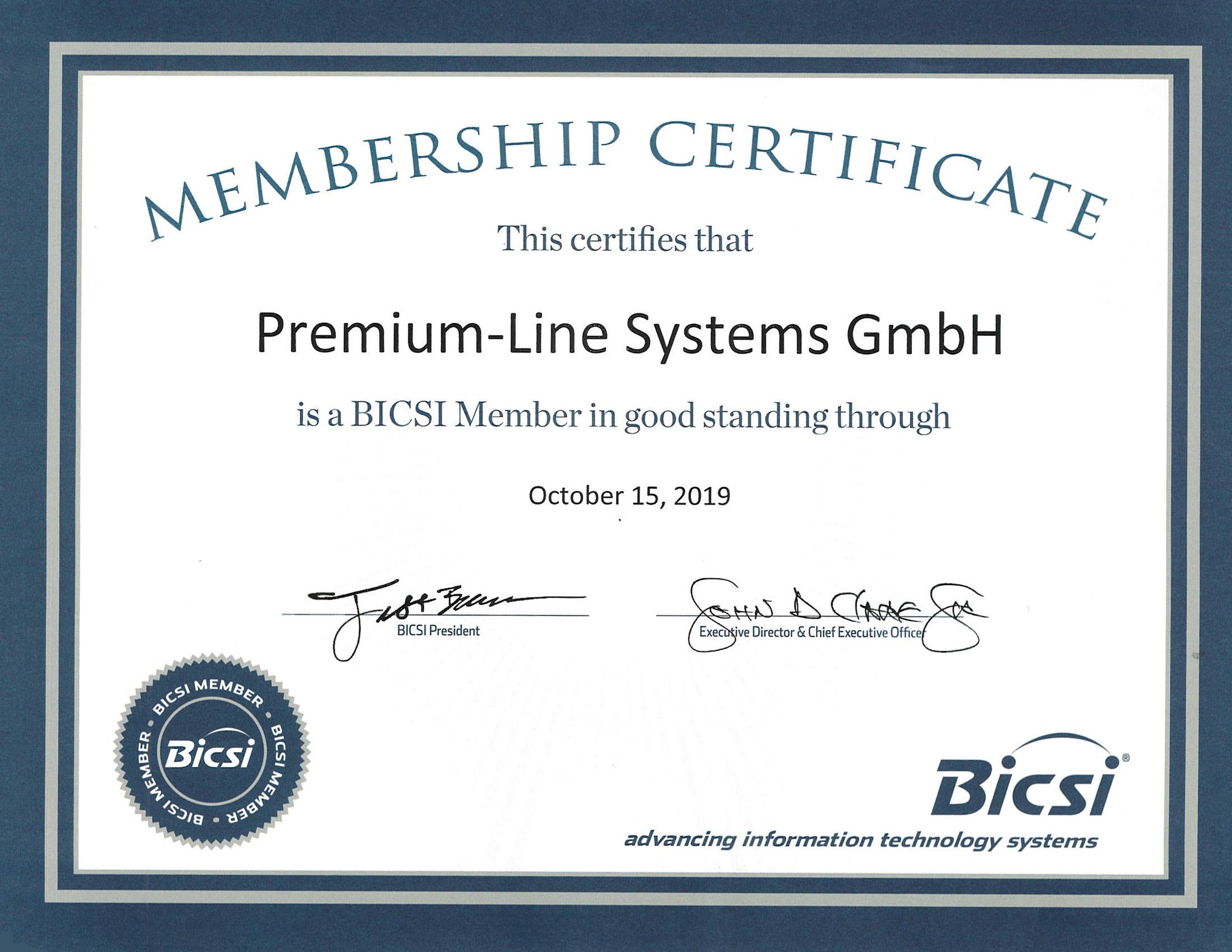 bicsi premium line member systems become certificate